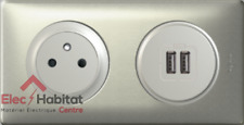Double USB+PC affleurante Céliane titane 67462+68556+67111+68411+80252+68902