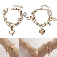 Charm Double-layer Heart Bell Pendant Metal Chain Bead Metallic Bracelet Jewelry