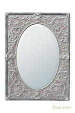Dusx Renaissance Antique White & Pink Metal Framed Oval Decorative Wall Mirror