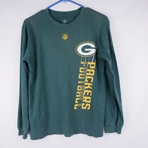 NFL Green Bay Packers Kids Boys Long Sleeve Shirt Size Large 14/16 Cotton crew