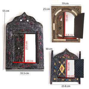 Moroccan Wall Mirror w/Doors Hand Painted Arabesque Handmade Home Decor