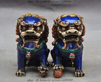 Old China Fengshui bronze Cloisonne Evil Guardian Door Foo Dog Lion Beast Statue