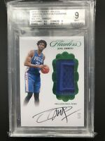 2016-17 Panini Joel Embiid Flawless Vertical Patch Emerald Auto 5/5 76ers BGS 9