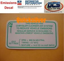 1969 Dodge Chrysler Plymouth 440 4bbl Auto Trans Emissions Decal NEW MoPar