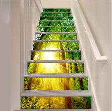 13pcs Self-adhesive 3D Sunshine Green Trees Forest Staircase Sticker Home Decor