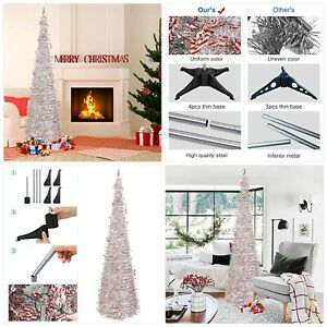 N&T NIETING Christmas Tree, 6ft/1.8m Collapsible Pop Up Silver Tinsel Christmas