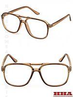 Mens Retro Nerdy Geek Celebrity Oversize Plastic Aviator Clear Lens Eye Glasses