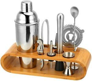 coctail shaker 2 10 PC Set with Sleek Bamboo Stand Base, Kitchen Martini Shaker