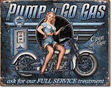 Schild Pin Up Bike Zapfsäule Gasoline Oldschool Vintage Werbung 30x40