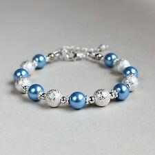 Silver stardust cool ice blue pearls beaded bracelet wedding bridesmaid gift