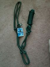 NEW Mustang Easy-On Easy Rope Halter with Lead Full Size / Hunter Green