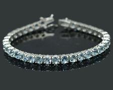 925 Solid Sterling Silver Natural Aquamarine Gemstone Tennis Bracelet Jewelry
