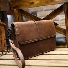 Herren Leder Handgelenktasche Herrentasche Handtasche Handgepäck Tasche Braun