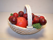 BASSANO VINTAGE ITALIAN FRUIT IN WOVEN BASKET CERAMIC HAND PAINTED