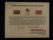 USA ASDA National 1981 souvenir card Famous anniversaries United States History