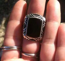 Men's Tribal Inlay Onyx Ring Size 12