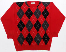 Pringle of Scotland Lambswool Red Argyle Sweater Mens Size Large