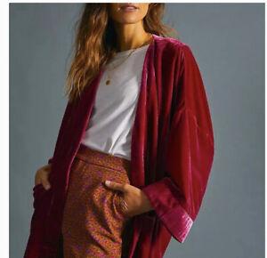 Anthropologie Esme Velvet Oversized Kimono Lined Jacket Pink Size Medium