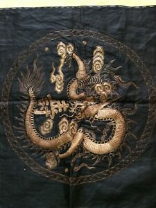 "ANTIQUE CHINESE SILK HAND EMBROIDERY BLACK GOLDEN DRAGON 22"" X 23"""
