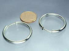 925 Silber Creolen 4 mm Breit x 25 mm Durchmesser rhodiniert NEU