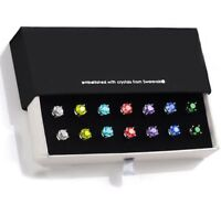 7mm Brilliant Round Stud Earring Made with Swarovski Crystal ITALY in White Gold