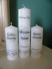 Medium Personalised Wedding Unity Candles 3 piece Embedded