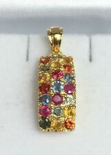 14k Solid Yellow Gold Three Rows Band Pendant, Natural Colors Sapphire 2.10TCW
