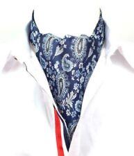 TRIPLE BLEU & Blanc Argent Floral Motif Cachemire - SOIE HOMME CRAVATE' Ascot -
