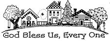 Unmounted Rubber Stamps, House & Trees Border, Christian Stamps, God Bless Us