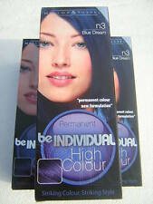 LOT of 3 BE INDIVIDUAL PERMANENT BLUE HAIR COLOUR COLOR DYE GOTH PUNK EMO CRAZY
