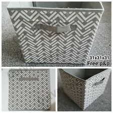 Grey Stripe Canvas Storage Collapsible Folding Box Fabric Cube Cloth Basket 31cm