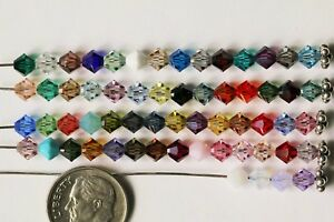 24 X Swarovski #5301 BICONE Beads 5mm MANY COLORS! 60 Colors! NO COATING