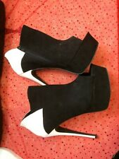 Black suede and white 6 inch high heel ankle boots size 8