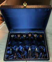 Vintage Set Of 6 Pickle Forks Enamel German Cities Made In West Germany in box