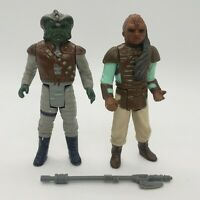 Vintage 1983 Star Wars Klatuu and Weequay Action Figure Original Vibrant Axe Lot
