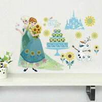 Disney Frozen Elsa Anna Princess Wall Sticker Sunflower Nursery Kid Room Decal
