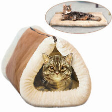 Kitty Kave 2 in 1 Tunnel Cat Mat and Bed Heating Pet Pad Warm Fleece Cushion