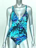 Aqua Green Sz Medium One Piece Swimsuit Multicolor Tropical Print Ruched NEW