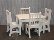 Dollhouse Miniature White Kitchen Table & Chairs Set 1:12  one inch scale  D10