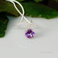 Genuine Purple Amethyst Sterling Silver Pendant  w/ Snake Chain Necklace