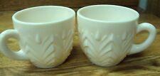 Vtg JEANNETTE Milk GLASS ~ 2 pc Snack Set Cups ~ SHELL PINK