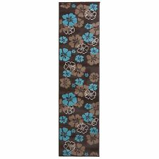 Modern Flower Carpet Hall Runner Choco Brown Beige & Blue 60x300cm (2'x9'9'')