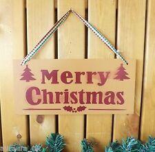 caramelo & Rojo Feliz Navidad Placa decoración en Vichy Cinta Letrero de madera