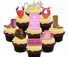 Cowboy / Cowgirl Party Pack, 36 Edible Cupcake Toppers, Standup Cake Decorations