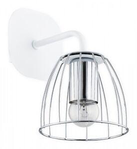 White Wall Light - Metal Wire Lampshade Chrome Matt Fitting - Industrial Reda