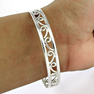 HANDMADE 925 Solid Sterling Silver Jewelry Hollow Bangle S52