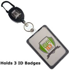 Super Heavy Duty Carabiner Badge And Key Reel With THREE Card ID Badge Holder