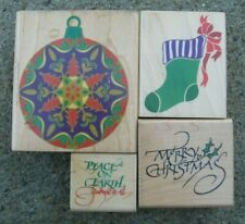 Lot of 4 Rubber Stampede CHRISTMAS HOLIDAY Rubber Stamps - Ornament, Stocking