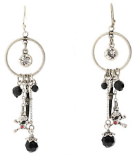 £40 Silver Black Pirate Skull Bones Drop Earrings Swarovski Elements Crystal