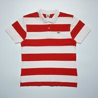 Lacoste Men's Red Short Sleeve Regular Fit Striped Cotton Polo Shirt Size L